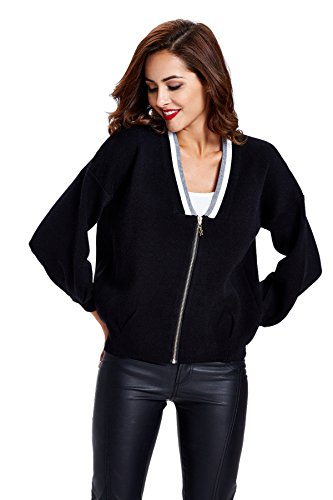 Women's Long Lantern Sleeve Knitwear Zip Front Stand Sweater Top-Black