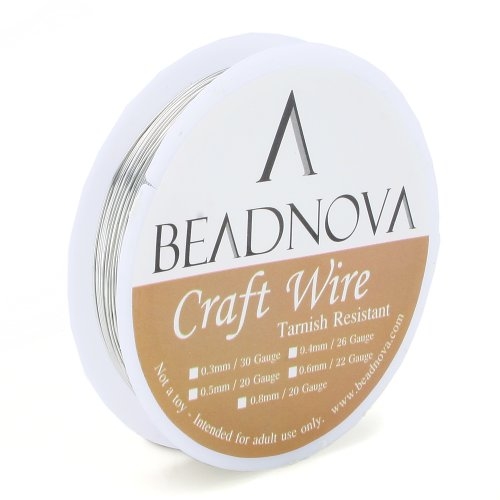 BEADNOVA 26 Gauge Silver Plated Non-Tarnish Brass Wire Jewelry Wire for Jewelry Making (14 meter/ 46 Feet)
