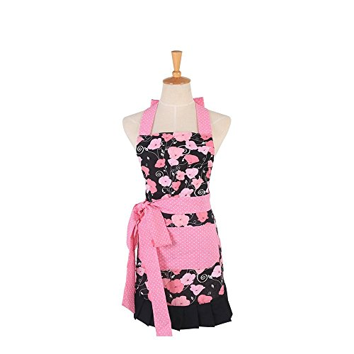 Pink Morning Glory Pattern Double Layer 100% Cotton Garden Aprons Cute Chef Bib Kid Girl's Cooking Kitchen or Backing Apron with One Practical Front Pocket (Kid Girl's)