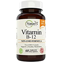 Vitamin B-12, 5000mcg, Non-GMO Supplement with Methylcobalamin (Methyl B12) - Best Support for Boosting Metabolism & Increase ENERGY Levels – Offered By Nature's Potent. (60 Tablets )