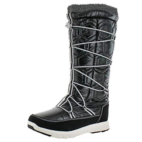 Khombu Women's Slalom Quilted Tall Waterproof Snow Winter Boot Black Size 8