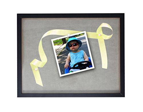 "Shadow Box By Solaya: Black Wood & Acrylic Shadowbox Picture Frame With Soft Linen Back – 12""x15"" Sturdy Wall Display Case For Photos, Tickets, Memorabilia, Medals, ()"