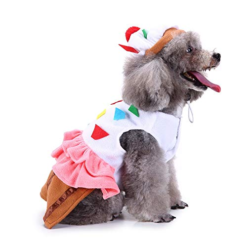 Cupcake Dog Costume Pet Cake Food Dessert Funny Dog Cat Halloween Costume -