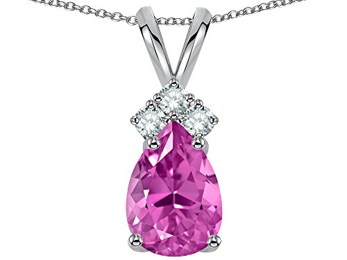 Star K Pear Shape 8x6mm Created Pink Sapphire Rabbit Ear Pendant Necklace 14 kt White Gold