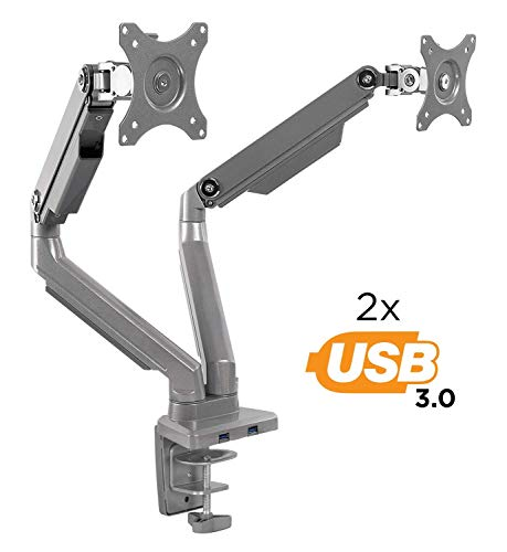 Mount-It! Dual Monitor Arm Mount Desk Stand | 2 x 3.0 USB Ports | Articulating Mechanical Spring Height Adjustable | Fits Two 24 27 29 30 32 Inch VESA 75 100 Compatible Screens | C-Clamp and Grommet ()