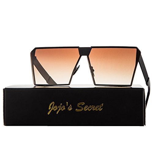 JOJO'S SECRET Oversized Square Sunglasses Metal Frame Flat Top Sunglasses JS009 (Black/Brown, 2.48) (Square Sunglasses)