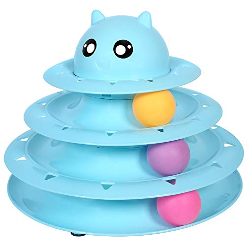 UPSKY Cats Toys Tower of Tracks Cat Toy 3 Level Towers Tracks Roller with Three Colorful Ball Interactive Kitten Fun Mental Physical Exercise Puzzle Toys(Blue)