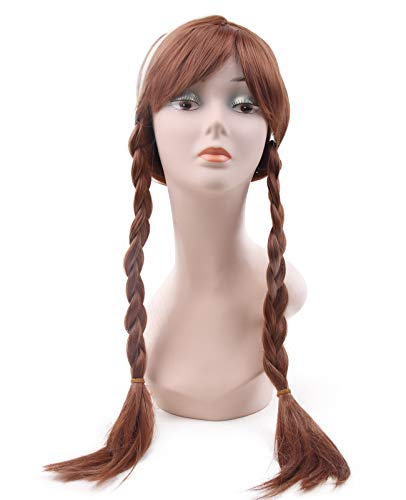 Princess Snow Anna Elsa Cosplay Wig Braid Heat Resistant Synthetic Party -