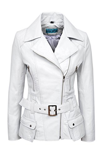 'FEMININE' Ladies WHITE Vintage WASHED Biker Style Designer Real Leather Jacket (UK 14/US 10) by Smart Range
