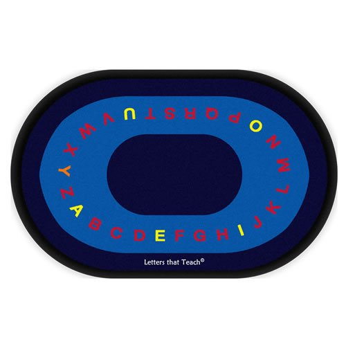 Flagship Carpets FE108-33A Letters That Teach, Children Will Love Taking a Seat Near Their Favorite Letter, 5'10'' x 8'4'' Oval Rug, 70'' Length, 100'' Width, Blue/Multi-Color by Flagship Carpets