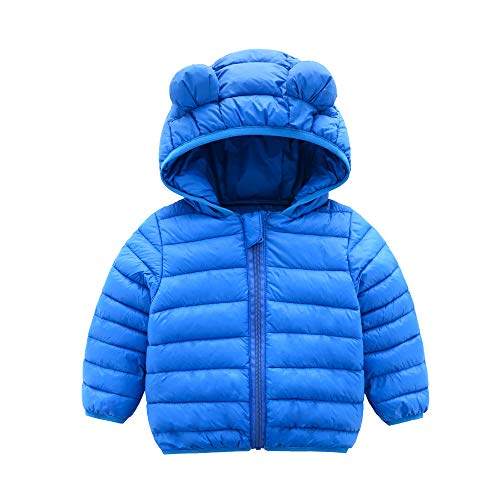 Boys Puff Jacket - CECORC Winter Coats for Kids with Hoods (Padded) Light Puffer Jacket for Outdoor Warmth, Travel, Snow Play | Little Girls, Little Boys | Baby, Toddlers, 4T, Blue