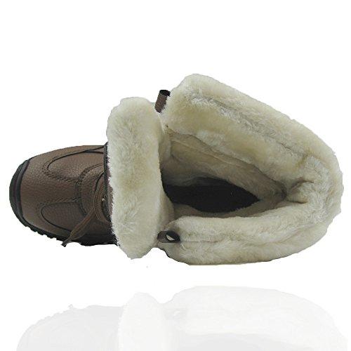 Comfy Moda Donna Inverno Neve Scarponi Da Neve Freddo Tempo Faux Foderato In Vera Pelle Foderata In Pelle Color Bianco