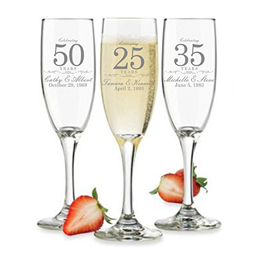 Customized Anniversary Champagne Flutes or Wine Glasses - Set of 2 - Couples Name and Wedding Date - Personalized for Anniversary Celebration - Custom Engraved Anniversary Gift (Champagne)