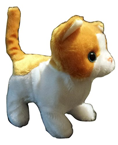Walking Pet Cat Stuffed Animal - Meows, Curls its tail - Battery Operated Little Kitty Toy Little Kitty