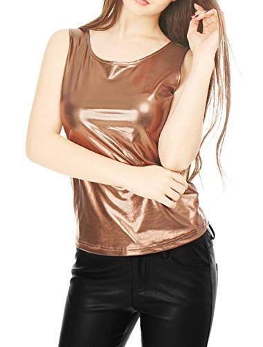 Fit K U Slim Tank Stretchy Allegra Neck Woman Metallic Brown Top wgPdxYTq