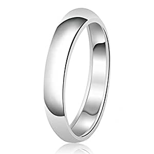 4mm Classic Sterling Silver Plain Wedding Band Ring (With Personalized Engraving), Size 4
