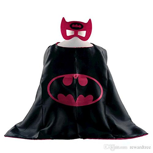 Superhero Costume and Dress Up for Kids - Satin Cape and Felt Mask Pink -