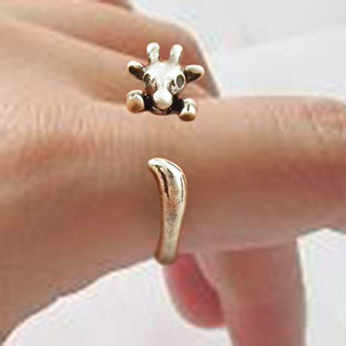 Antique Silver Plated Brass Knuckle Midi Adjustable Giraffe Wrap Ring