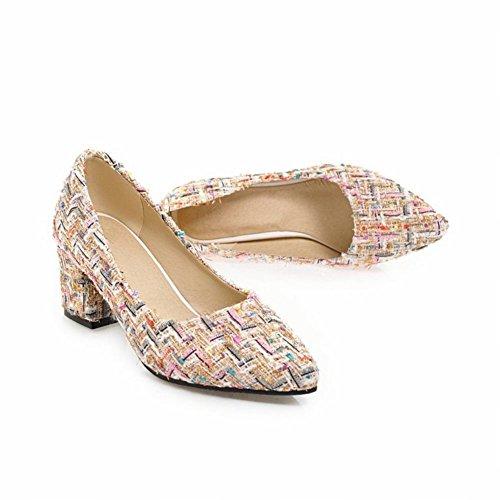 Mee Shoes Damen Blockabsatz Slip On Geschlossen Pumps Beige