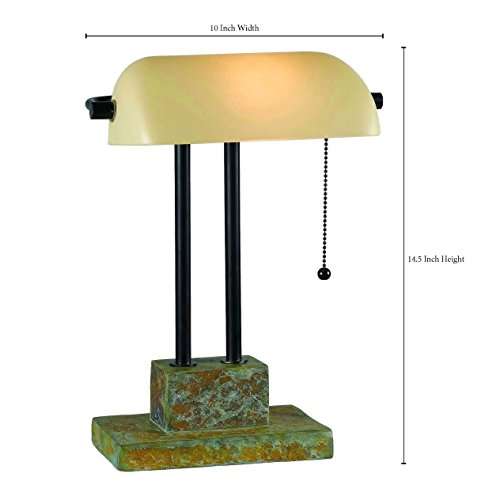 Kenroy Home 21041SL Greenville Banker Lamp, Natural Slate with Oil Rubbed Bronze Accents