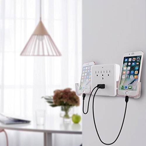 SUNRASE Wall Plate Charge 3AC Outlet Mount Plate Surge Charge Protector with 2 USB Charger Ports 2.4A (UL Certified)