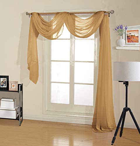- Decotex Premium Quality Sheer Voile Scarf Valance for Home & Event Designs (54