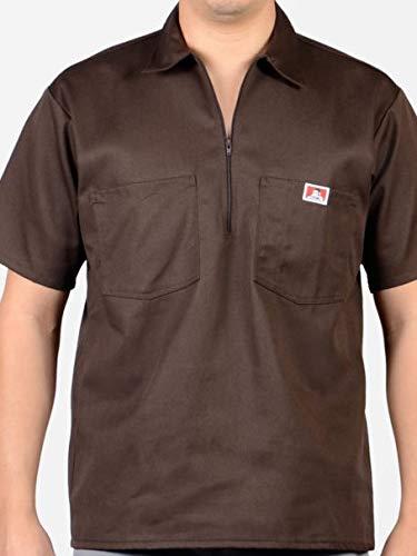 Ben Davis Men's Half Zipper Shirt M Brown