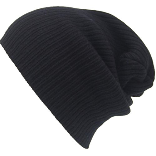 Perman Men's Women Beanie Knit Ski Cap Hip-Hop Winter Warm Unisex Wool Hat (28cm x 19cm, Black)