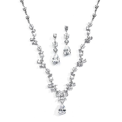 (Mariell Cubic Zirconia Vine Wedding Necklace and Earrings Jewelry Set for Brides, Silver Platinum Finish)