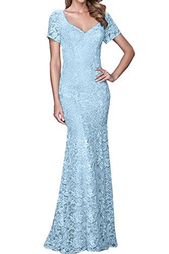 V Ivydressing Aermeln Damen Ausschnitt Spitze Mit Himmelblau Abendkleider Promkleid Ballkleider qwUwA1ZE6