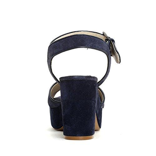 ALESYA by Scarpe&Scarpe - Sandalias altas con plataforma y correa en el tobillo, de Piel, con Tacones 9 cm Azul