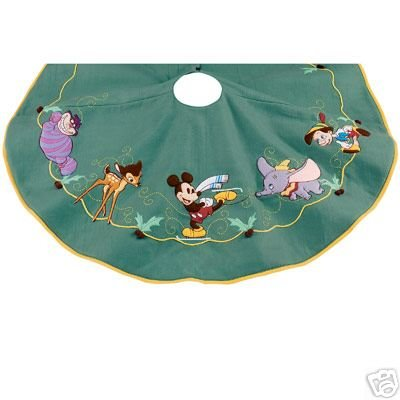 disney store world of disney christmas tree skirt with characters cheshire cat bambi mickey pinocchio dumbo