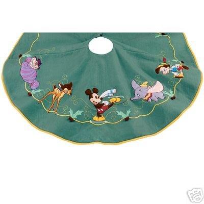 amazoncom disney store world of disney christmas tree skirt with characters cheshire cat bambi mickey pinocchio dumbo kitchen dining - Disney Christmas Tree Skirt