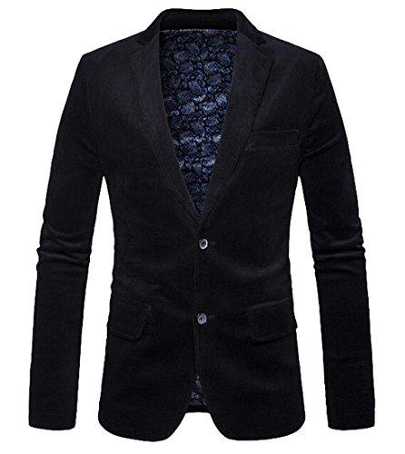 Oberora Mens Casual Dress 2 Button Slim Corduroy Blazer Jacket Coat Black M (2 Corduroy Blazer Button)