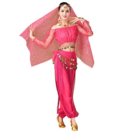 Maylong Womens Polka Dot Harem Belly Dance Halloween Costume Carnival DW59 (hot Pink)