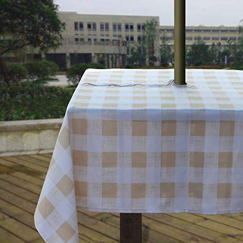 Melaluxe Heavyweight Wrinkle-Free Stain Resistant Waterproof Outdoor Tablecloth with Umbrella Hole and Zipper, Beige Checkered, 60 Inch Square