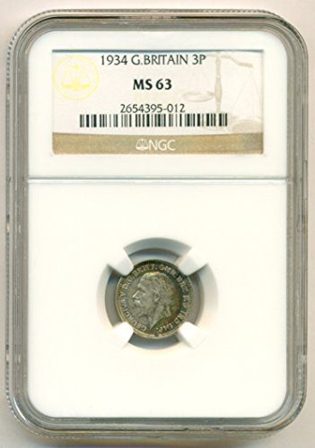 - 1934 UK Great Britain - George V Silver 3 Pence MS63 NGC