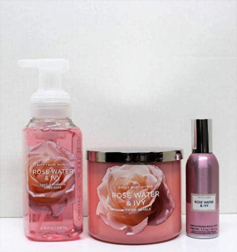 Bath and Body Works Rose Water & Ivy set- 3 wick scented candle 14.5 oz, room spray 1.5 oz, and Foaming hand soap 8.75