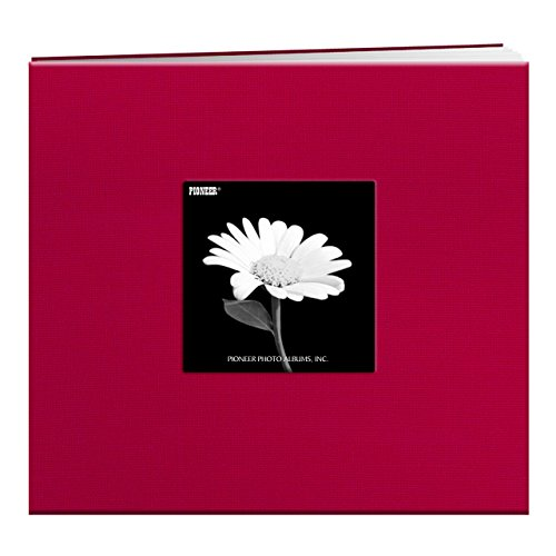 Pioneer MB88CBFE 8 Inch by 8 Inch Fabric Frame Cover Post Bound Scrapbook, Burgundy