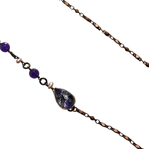 Tamarusan Eyeglass Chain Purple Lily Amethyst Freshwater Pearl Antique Style Eyeglasses Holder