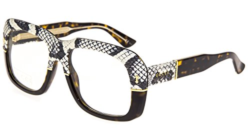 GUCCI 1157 Square Ayers Eyeglasses Tortoise Amber Snake Skin GG1157S - Gucci Tortoise Eyeglasses