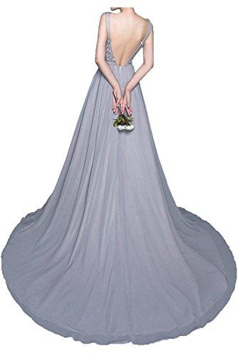 Milano Bride Silber Spitze Chiffon Pailletten Abendkleider Partykleider Promkleider Bodenlang A-linie Rock Festlich
