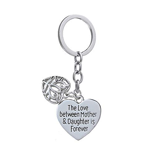 Mother's Day Gift Love Between Mother Daughter is Forever Double Heart Key Chain Ring for Family Women