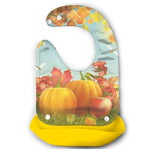 BradStaplesz Kids Harvest Season Fallen Leaves and Pumpkins Durable Bib Gift Yellow