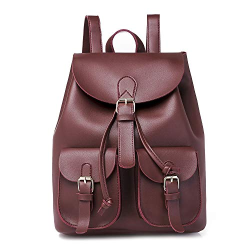 Ybriefbag Bag Womens School Lady Rucksack Drawstring Leather Shoulder Backpack PU Tote Burgundy Lightweight rSgrwR