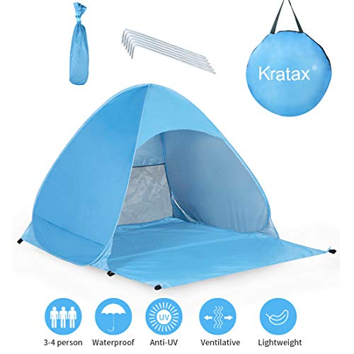 Kratax Pop Up Beach Tent Sun Shelter- UPF 50+ Instant Beach Shelter for Baby- 3 Person Family Outdoor Tent