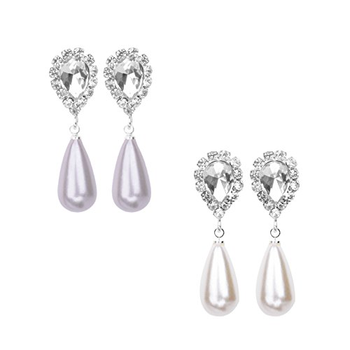 Paxuan Womens 2pcs Silver Plated Shell Pearl Pierced Wedding Bridal Teardrop Pearl Crystal Drop Dangle Earrings Jewelry Sets Hypoallergenic (White + Grey)
