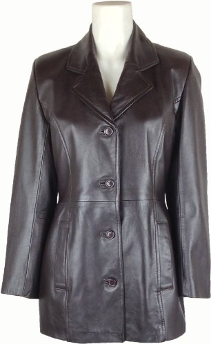 UNICORN Donne Autentico Vera Pelle Giacca Classico Stile Vestito Blazer Marrone #AZ