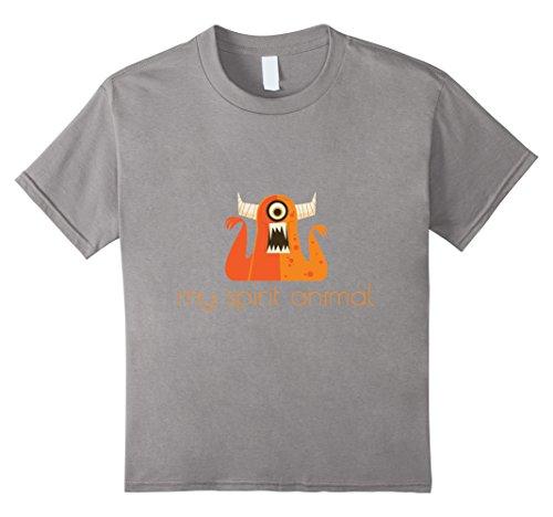 Kids My Spirit Animal Scary Monster Halloween Cyclops T-Shirt 4 Slate (Halloween Tshirt)