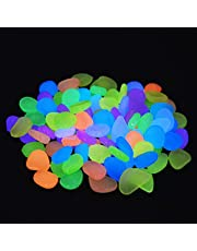 احجار حصى ملونة مضيئة لحوض الأسماك مناسبة للمنزل وخارجه والحديقة والممرات والمساحات الخضراء، ديكورات مضيئة مبهجة، عبوة مكونة من 200 حجر